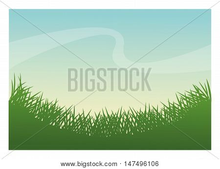 Green grass icon. lawn plant nature and field theme. Frame design. Vector illustration