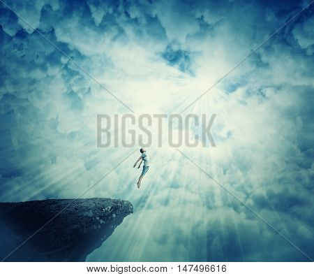 Young boy astral travel mystical rapture state psychokinesis condition. Magic soul energy show human illusion. Mysterious place into the clouds