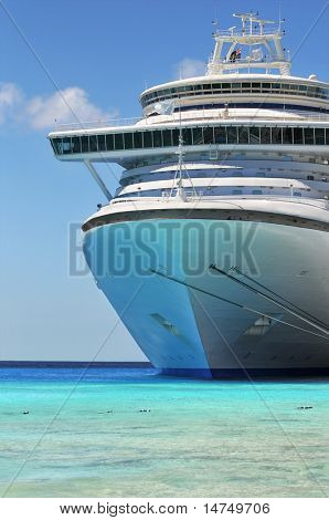 Passenger cruise ship anchored in the Caribbean waters