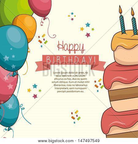 cake sweet balloons happy birthday desing isolated vector illustration eps 10
