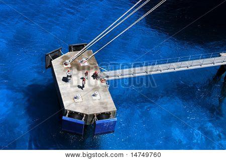 Dock workers at port in Grand Turk Island, British West Indies