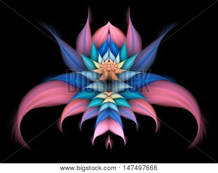 Abstract exotic flower on black background. Symmetrical pattern in pastel pink blue and orange colors. Fantasy fractal design for posters wallpapers or t-shirts. Digital art. 3D rendering.