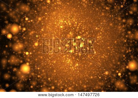 Supernova explosion. Abstract colorful golden sparks on black background. Fantasy fractal texture for posters postcards or t-shirts.