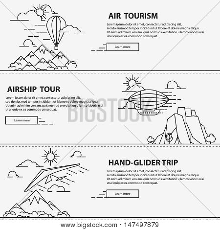 Airship tourism banner in line style. Balloon travel flight transportation. Set of air tour banners. Vector illustration