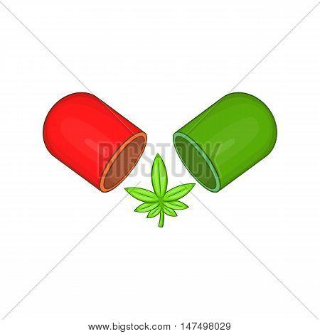 Marijuana capsule pill icon in cartoon style isolated on white background vector illustration