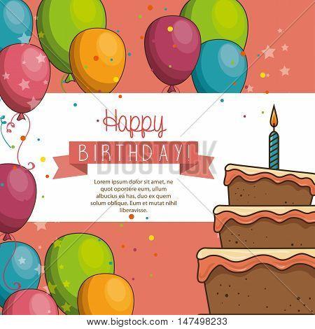 cake balloon happy birthday desing isolated vector illustration eps 10