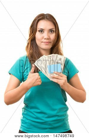 asian woman holding a blank card and the money