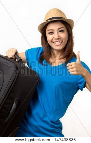 women carrying a big luggage on white background