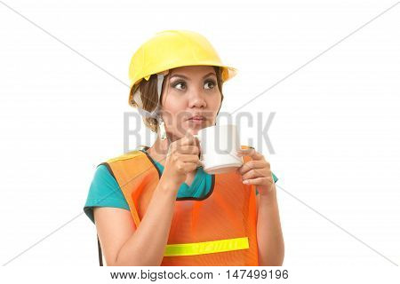 foreman woman relaxing with coffee on white background