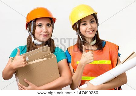 two foreman women concede on white background