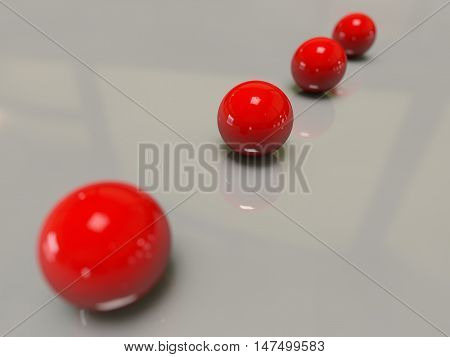 Depth of field four red shining glossy balls lined perspective studio lights shadows white reflection specular smooth surface 3D rendering