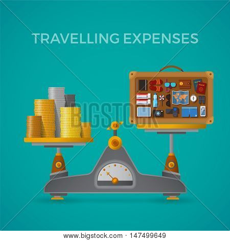 Travel & Tourism Expenses Vector Concept With Balance Scales In Flat Style