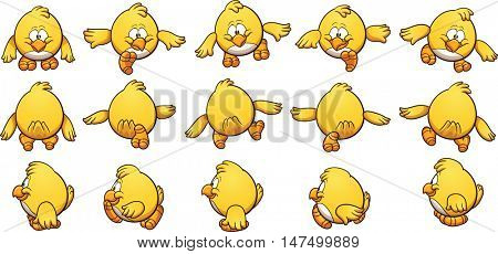 Cartoon chicken sprites, ready for animation. Vector clip art illustration with simple gradients. Each on a separate layer.