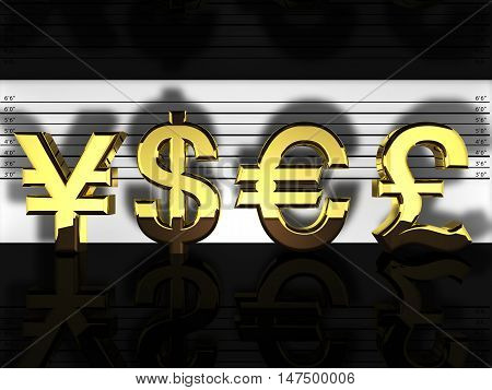 Forex currencies in a police lineup financial fraud and speculation , 3d illustration