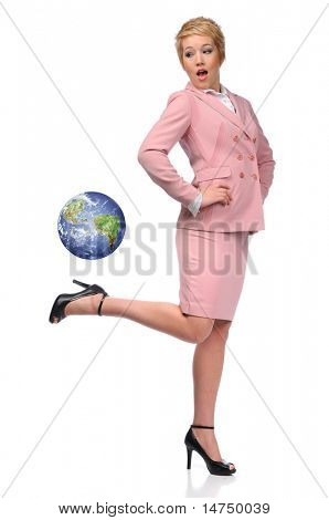 Young businesswoman back kicking the earth isolated over white background