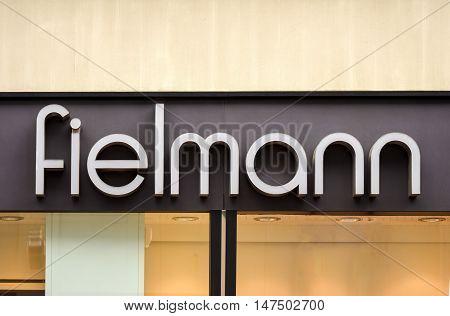 Rostock, Germany - August 22, 2016: Fielmann AG German optics company Retail eyewear