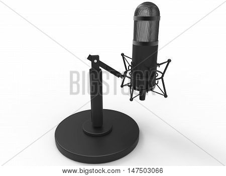 3d illustration of retro microphone. white background isolated. icon for game web.