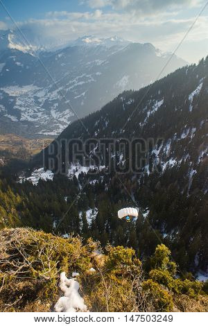 Looking down from the top of a cliff in a forest in the Swiss alps a BASE jumper in the distance on an open parachute.