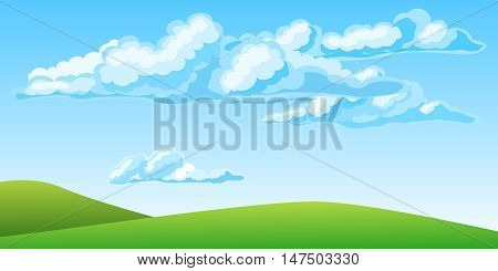 Summer landscape with beautiful clouds. Vector illustration
