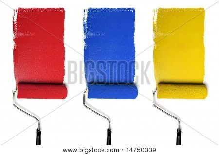 Paint Rollers with primary colors isolated over white background