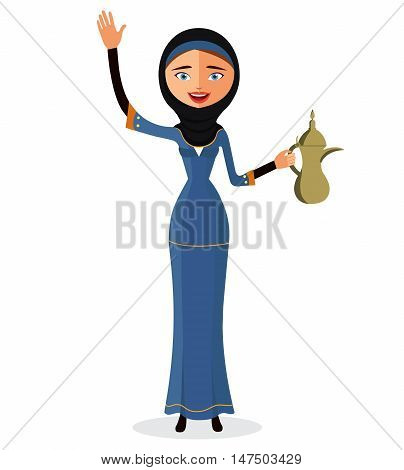 Happy arab woman holding an Arabic coffee pot and waving her hand isolate on white background.
