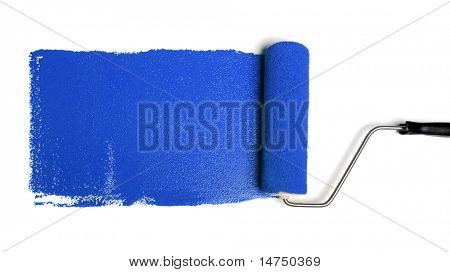Paint roller leaving stroke of blue paint over a white background