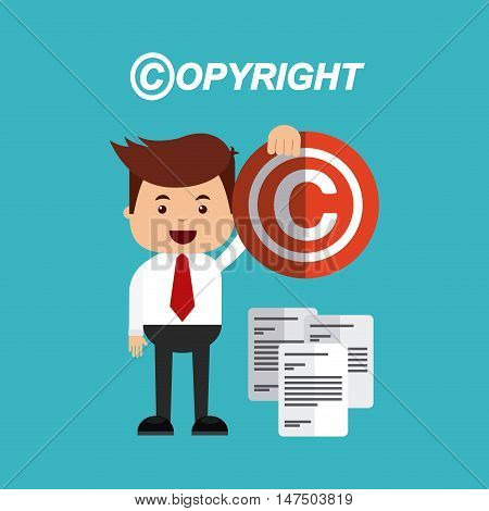 copyright set flat icons vector illustration design