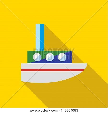 A child's toy boat on a yellow background. Picture style flat