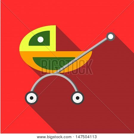 Children's toy pram on a red background. Picture style flat
