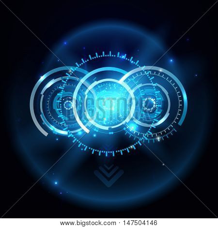 Futuristic technology HUD vector background, techno circle, sci-fi background. Eps10.