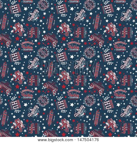 Hockey Theme Vector Seamless Sport Pattern For Dark Background
