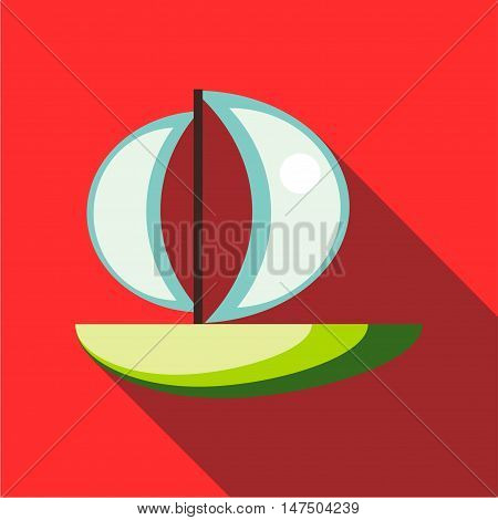 Children's toy sailboat on a red background. Picture style flat