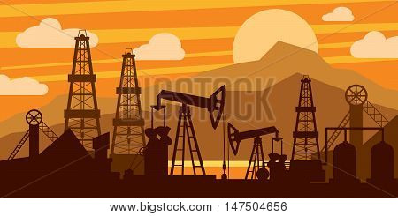 Oil platform concept. Oil derricks and pumps on an orange background