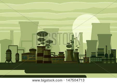 Thermal power plant concept. Industrial power plant building on a grey background