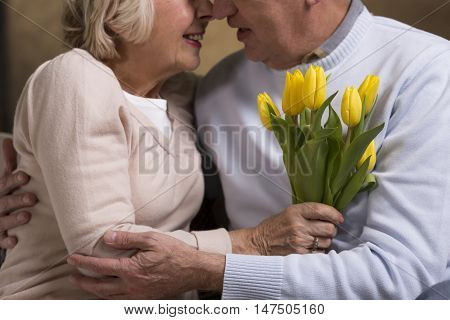 Couple Of Seniors Holding Each Other