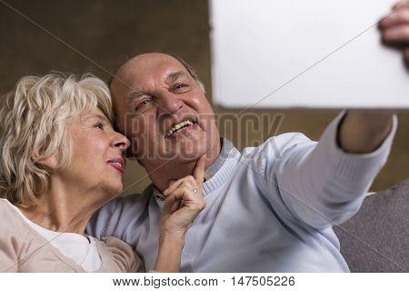 Elderly People Taking Selfie