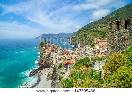 Landscape Vernazza, Cinque Terre - old town on the rocks, Liguria, Italy