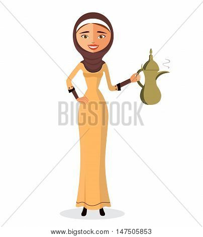 The beautiful Muslim woman holding an Arabic coffee pot in a hijab isolate on white background.