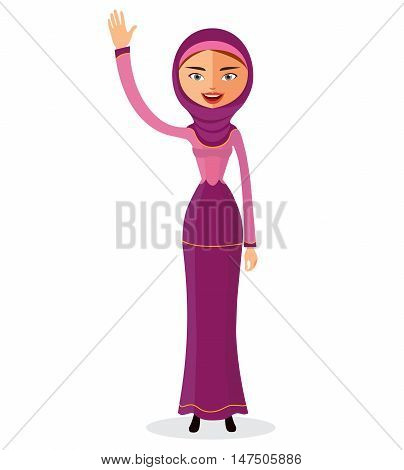 Vector flat illustration of a beautiful young muslim arab woman waving her hand in hijab flat cartoon vector illustration. Eps10. Isolated on a white background.