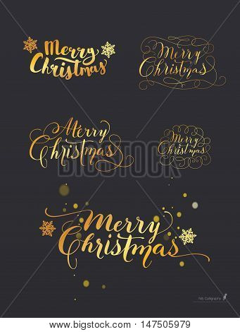 Hand-Drawn Lettering based on a Nib and Brush Calligraphy. Snowflakes on the background. Merry Christmas. Vector.
