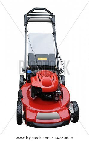 Red lawn mower isolated over white background