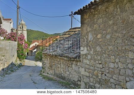 A back street in the small town of Skradin on the coast of the Sibenik-Knin County of Croatia