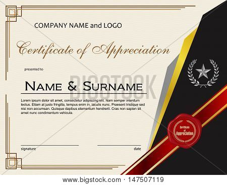 Certificate of Appreciation with wax seal and ribbon