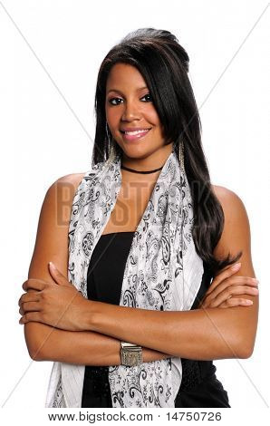 African American woman with arms crossed isolated over white background