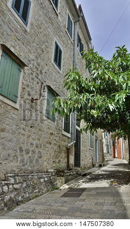 An narrow old historic road in Herceg Novi Old Town Montenegro.