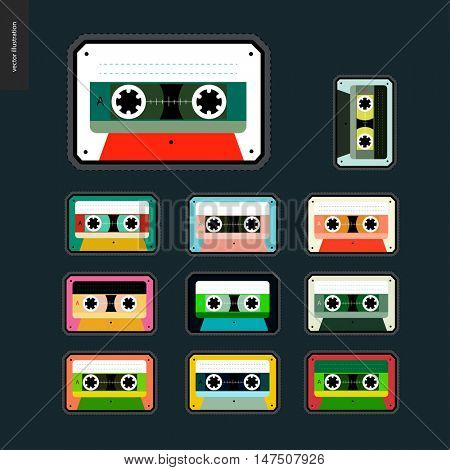 Patches, hand drawn vector stickers set of eleven flat cartoon hand drawn patches with plastic cassette musical tapes in different colors.