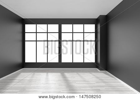 Black and white empty room with white hardwood parquet floor big window and black walls and sunlight from window minimalist interior front view 3d illustration
