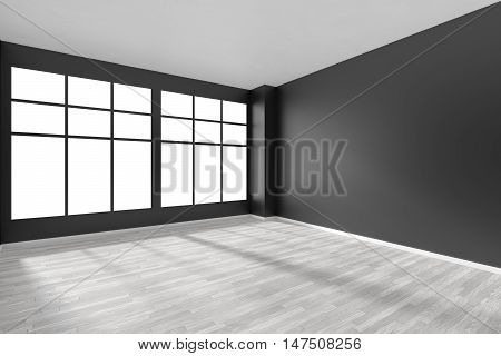 Black and white empty room with white hardwood parquet floor and big window and black walls and sunlight from window minimalist interior 3d illustration