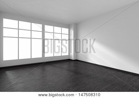 Black and white empty room with black hardwood parquet floor and big window and white walls and sunlight from window minimalist interior 3d illustration
