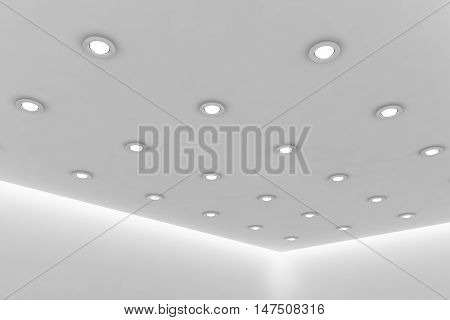 Abstract architecture white room interior - office ceiling of empty white room with white wall white floor white ceiling with small round ceiling lamps and hidden ceiling lights 3d illustration